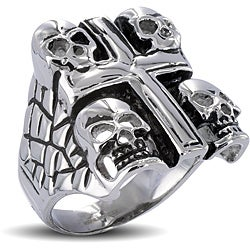 Stainless Steel Men's Skull and Cross Ring