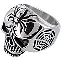 West Coast Jewelry Stainless Steel Men's Large Skull and Spider Cross Ring
