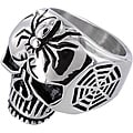 Stainless Steel Men's Large Skull and Spider Cross Ring