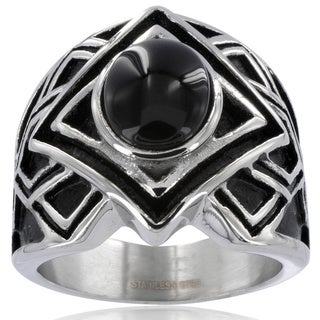Stainless Steel with Black Onyx Stone Center Men's Ring