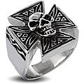 West Coast Jewelry Stainless Steel Men's Iron Cross with Skull Ring