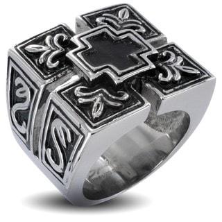 Stainless Steel Men's Cross Shield Ring