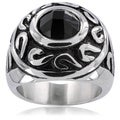 Stainless Steel Tribal Orb and Black Cubic Zirconia Men's Ring