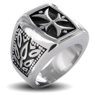 West Coast Jewelry Stainless Steel Men's Tribal Life Cross Ring