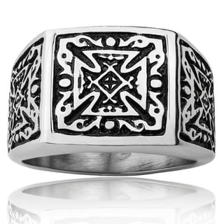 Stainless Steel Men's Tribal Decorated Celtic Cross Wide Ring
