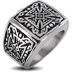 West Coast Jewelry Stainless Steel Men's Tribal Decorated Celtic Cross Wide Ring
