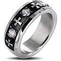 Stainless Steel Men's Celtic Cross and Triple Crystal Stone Ring