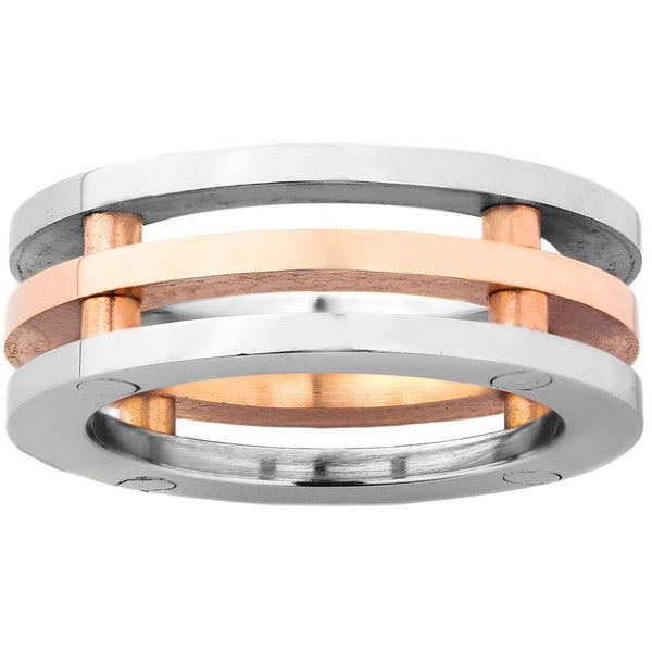Stainless Steel Men's 3-piece Wedding Band