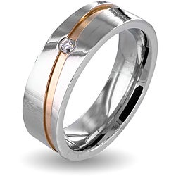 West Coast Jewelry Stainless Steel Cubic Zirconia Men's Goldplated Stripe Wedding Band