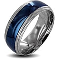 Two-tone Stainless Steel Men's Ridged Edge Wedding Band