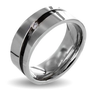 West Coast Jewelry Stainless Steel Cubic Zirconia Men's Black Stripe Wedding Band