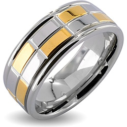 Stainless Steel Two-Tone Men's Goldplated Checker Wedding Band