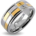 West Coast Jewelry Stainless Steel Two-Tone Men's Goldplated Checker Wedding Band