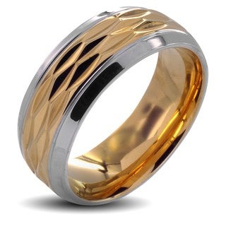 West Coast Jewelry Stainless Steel Men's Polished Goldplated Grooved Center Wedding Band