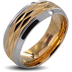 Stainless Steel Men's Polished Goldplated Grooved Center Wedding Band