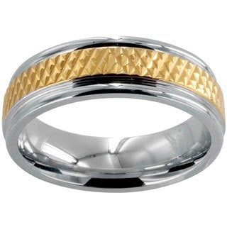 Polished Stainless Steel Goldplated Grooved Center Wedding Band (6mm)
