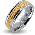 West Coast Jewelry Polished Stainless Steel Goldplated Grooved Center Wedding Band (6mm)