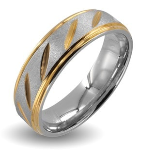 Stainless Steel Goldplated Grooved Wedding Band (6mm)