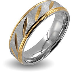 West Coast Jewelry Stainless Steel Goldplated Grooved Wedding Band (6mm)