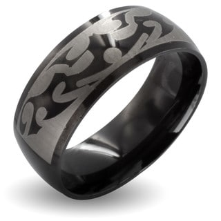 West Coast Jewelry Black Stainless Steel Men's Tribal Design Ring