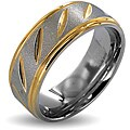 West Coast Jewelry Stainless Steel Goldplated Grooved Ring (8mm)
