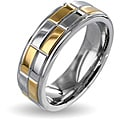 West Coast Jewelry Stainless Steel Silver Goldplated Checker Wedding Band