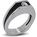 Stainless Steel Split Shank Floating Cubic Zirconia Ring
