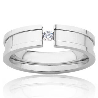 Stainless Steel Ring with Tension Set Cubic Zirconia Center