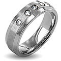 West Coast Jewelry Stainless Steel Brushed Center Crystal Ring