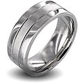 West Coast Jewelry Polished Stainless Steel Men's Brushed Center Wedding Band