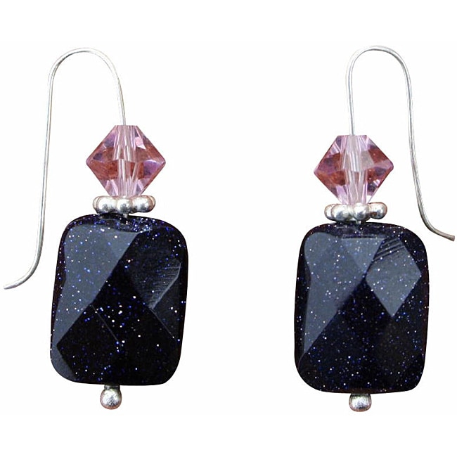 Beadwork By Julie Blue Goldstone and Crystal Earrings