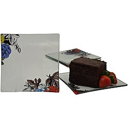 Graphic Love Tempered Glass 4-piece Dessert/ Appetizer Plate Set Set