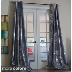 Liliana Grommet With Silver Metallic Pattern 96 inch Curtain Panel