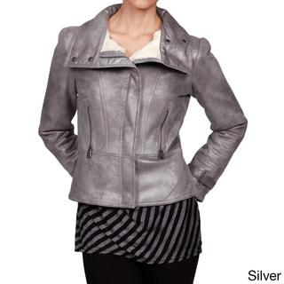 Via Spiga Women's Metallic Faux-Shearling Motorcycle Jacket