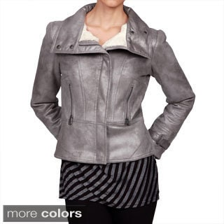 Via Spiga Women's Metallic Faux-Shearling Motorcycle Jacket