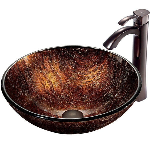 VIGO Kenyan Twilight Glass Vessel Sink and Faucet Set in Oil Rubbed Bronze