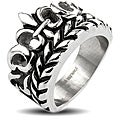 Stainless Steel Men's Fleur De Lis and Vine Ring