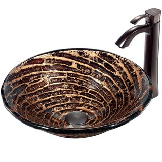 VIGO Chocolate-Swirl Caramel Round Glass Vessel Sink and Faucet Set in Oil-Rubbed Bronze