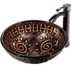 VIGO Aztec Scratch-Resistant Glass Vessel Sink and Faucet Set in Oil-Rubbed Bronze