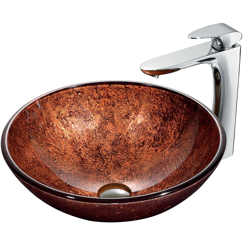 VIGO Mahogany Moon Glass Vessel Sink and Faucet Set in Chrome