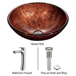 VIGO Mahogany Moon Glass Vessel Sink and Faucet Set in Chrome