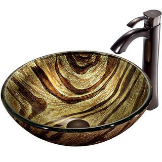 VIGO Zebra Scratch-Resistant Glass Vessel Sink and Faucet Set in Oil-Rubbed Bronze