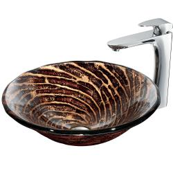 VIGO Chocolate Caramel Swirl Scratch-Resistant Glass Vessel Sink and Faucet Set in Chrome