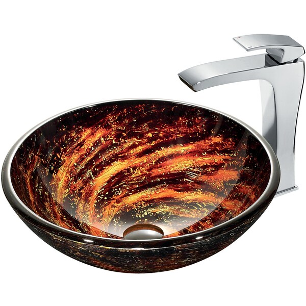 VIGO Northern Lights Glass Vessel Sink and Faucet Set in Chrome