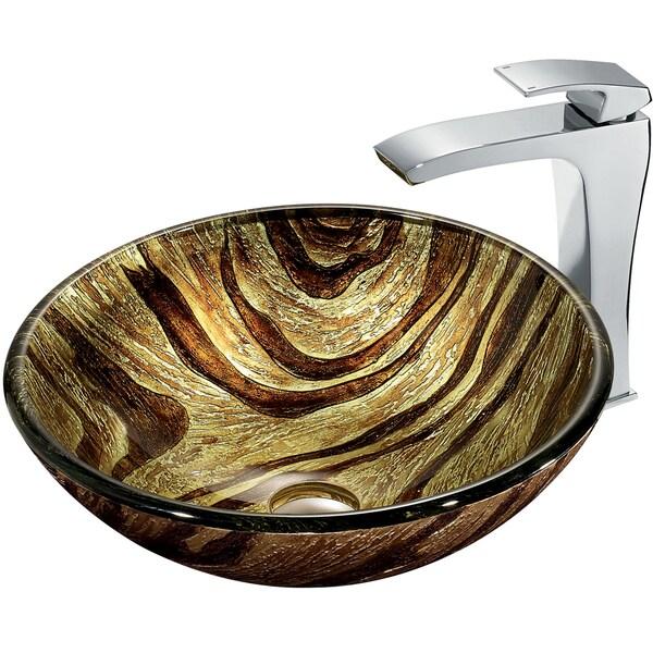 VIGO Zebra Glass Vessel Sink and Faucet Set in Chrome