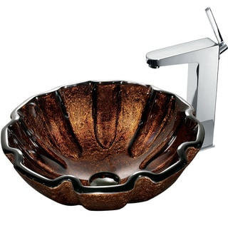 VIGO Walnut Shell Glass Vessel Sink and Faucet Set in Chrome