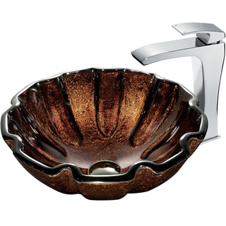 VIGO Walnut Shell Scratch-Resistant Glass Vessel Sink and Faucet Set in Chrome