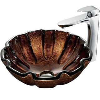 VIGO Walnut Shell Glass Vessel Sink and Faucet Set in Chrome