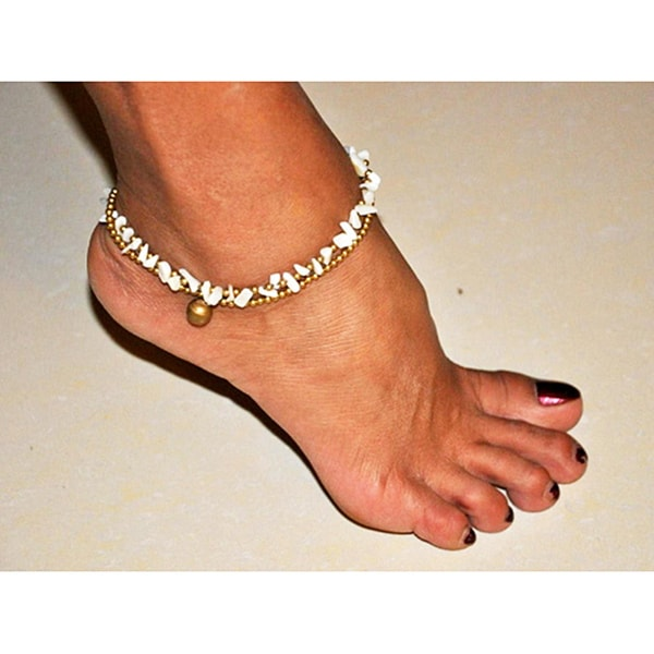 Goldtone Mother of Pearl Shell Anklet (Thailand)