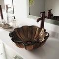 VIGO Walnut Shell Glass Vessel Bathroom Sink